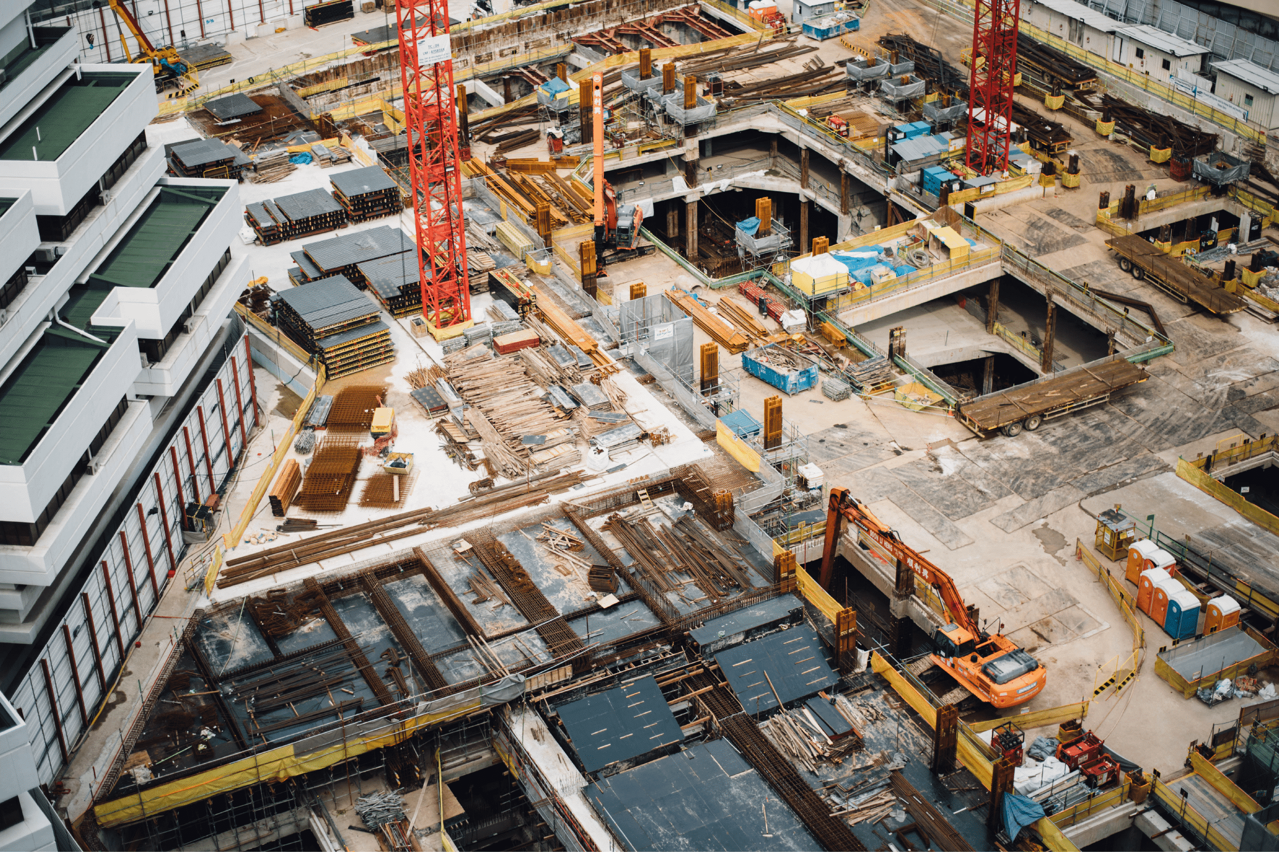 Birdseye view of a construction site