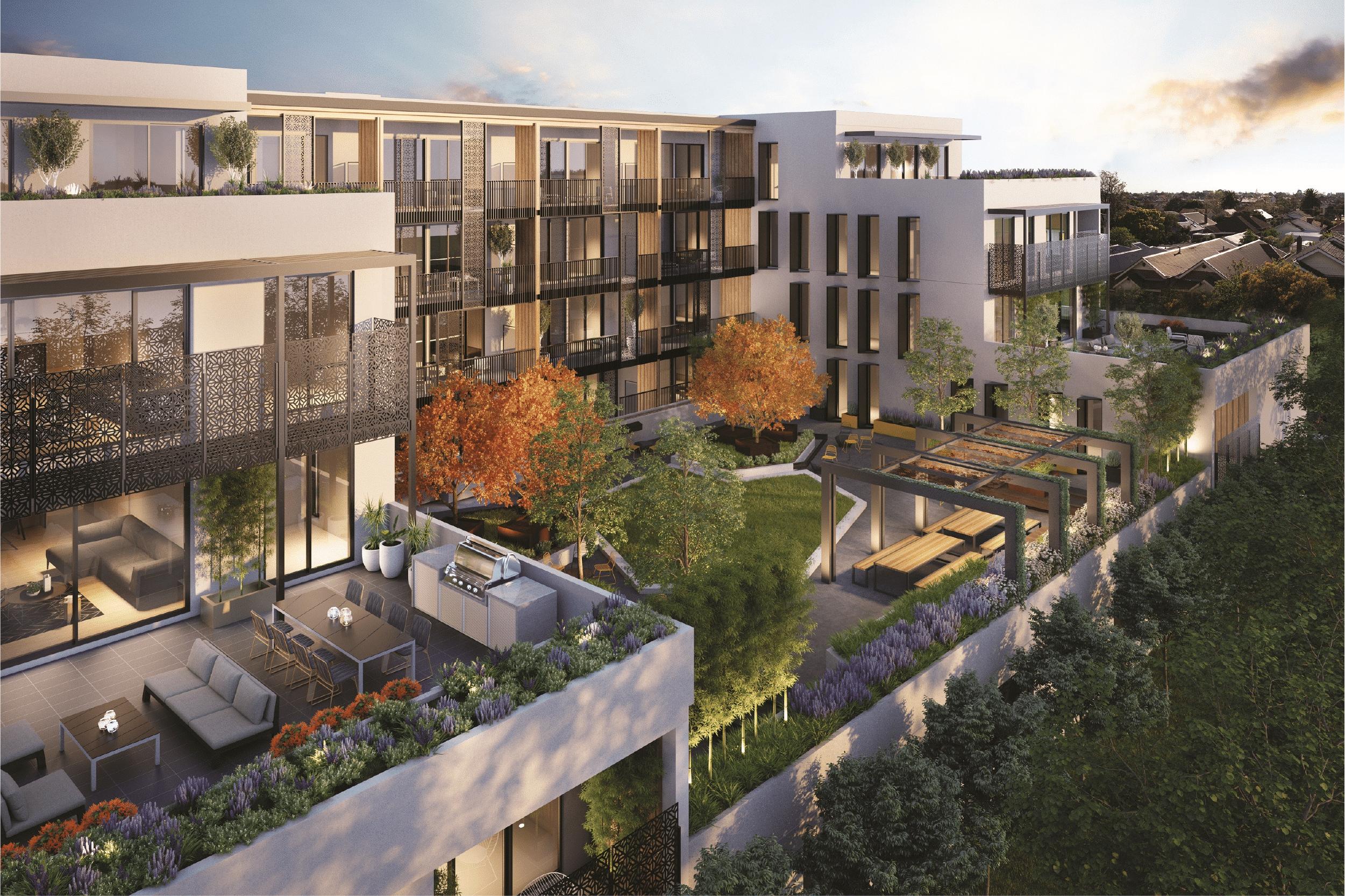Birdseye view of apartment complex