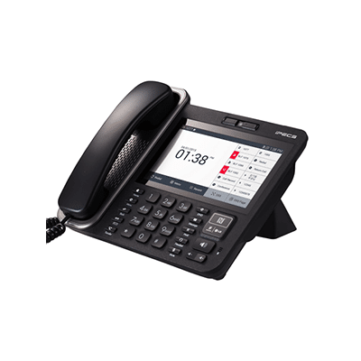 Black Desk Phone Receiver angled with Touch Screen